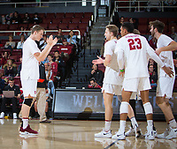 STANFORD, CA - January 17, 2019: Eric Beatty, Paul Bischoff, Jaylen Jasper, Kyler Presho at Maples Pavilion. The Stanford Cardinal defeated UC Irvine 27-25, 17-25, 25-22, and 27-25.