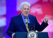 Matt Schlapp, chairman, American Conservative Union, waves to the audience as he arrives to speak at the Conservative Political Action Conference (CPAC) at the Gaylord National Resort and Convention Center in National Harbor, Maryland on Friday, March 1, 2019.<br /> Credit: Ron Sachs / CNP