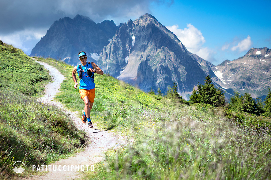 A trail runner near the Col de Balme on the Swiss and French borders, between Trient, Switzerland and Chamonix, France.