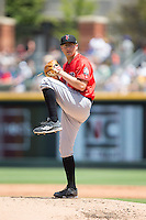 Indianapolis Indians starting pitcher Frank Duncan (35) in action against the Charlotte Knights at BB&T BallPark on June 19, 2016 in Charlotte, North Carolina.  The Indians defeated the Knights 6-3.  (Brian Westerholt/Four Seam Images)