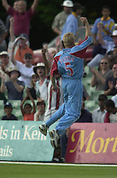 .24/06/2002.Sport - Cricket - .One day game 50 overs - Kent CC vs India.St Lawrence Ground - Canterbury.Kent captain, David Fulton, turns to the crowd and jumps after catcking, Harbhajan Singh of the bowling of Mark Ealham..
