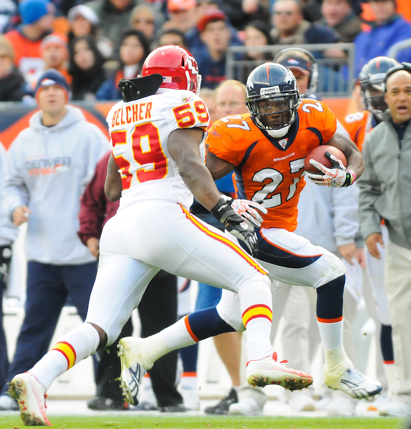 14 NOVEMBER 2010:  Broncos running back Knowshon Moreno  during a regular season National Football League game between the Kansas City Chiefs and the Denver Broncos at Invesco Field at Mile High in Denver, Colorado. The Broncos beat the Chiefs 49-29.
