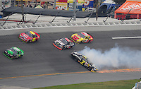 Feb 9, 2008; Daytona, FL, USA; ARCA RE/MAX Series driver Kyle Krisiloff (7) spins triggering a multi-car accident during the ARCA 200 at Daytona International Speedway. Mandatory Credit: Mark J. Rebilas-US PRESSWIRE