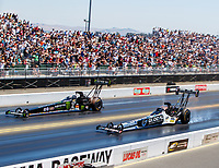 Jul 30, 2017; Sonoma, CA, USA; NHRA top fuel driver Shawn Langdon (near) races alongside Brittany Force during the Sonoma Nationals at Sonoma Raceway. Mandatory Credit: Mark J. Rebilas-USA TODAY Sports
