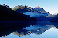 Still waters of lake in Fiordland, South Island, New Zealand