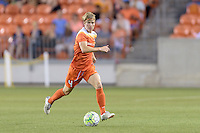 Houston, TX - Friday April 29, 2016: Becca Moros (4) of the Houston Dash chases after a loose ball against Sky Blue FC at BBVA Compass Stadium. The Houston Dash tied Sky Blue FC 0-0.