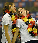 Berlin, Germany, February 01: During the prize giving ceremony for the Deutsche Meister Duesseldorfer HC of 1. Bundesliga Frauen Hallensaison 2014/15 February 1, 2015 at the Final Four tournament at Max-Schmeling-Halle in Berlin, Germany. (Photo by Dirk Markgraf / www.265-images.com) *** Local caption *** Selin Oruz #14 of Duesseldorfer HC, Jenny Froehlich #8 of Duesseldorfer HC