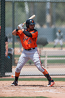 San Francisco Giants Orange first baseman Robinson Medrano (28) at bat during an Extended Spring Training game against the Oakland Athletics at the Lew Wolff Training Complex on May 29, 2018 in Mesa, Arizona. (Zachary Lucy/Four Seam Images)