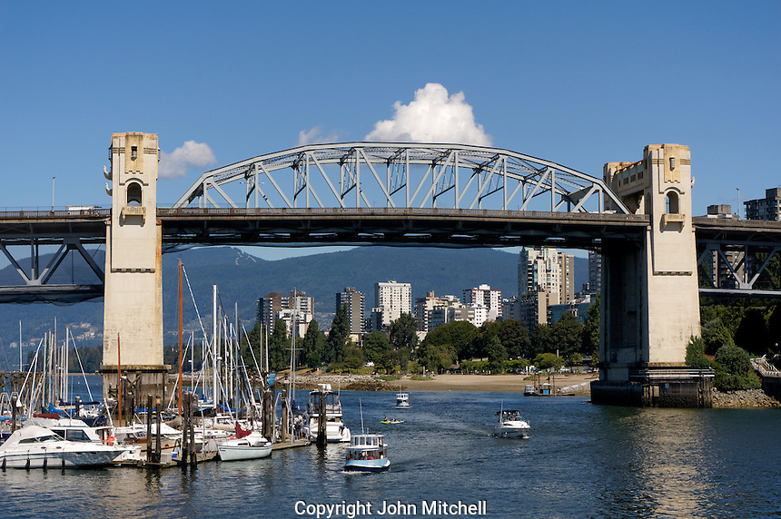 Burrard Bridge over False Creek with West End in back, Vancouver, British Columbia, Canada
