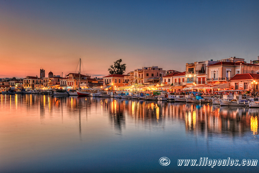 The port of Aegina island just after sunset, Greece