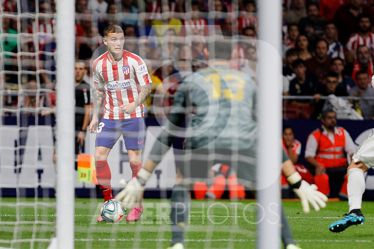 Kieran Trippier of Atletico de Madrid and Thibaut Courtois of Real Madrid during La Liga match between Atletico de Madrid and Real Madrid at Wanda Metropolitano Stadium{ in Madrid, Spain. {iptcmonthname} 28, 2019. (ALTERPHOTOS/A. Perez Meca)