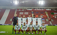 England pre match team photo during the Under 21 International Friendly match between England and Italy at St Mary's Stadium, Southampton, England on 10 November 2016. Photo by Andy Rowland.