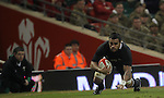 Cardiff, WALES - November 24:.Autumn International.Wales v New Zealand.All Blacks flanker Liam Messam dives over to score the first try of the match..24.11.12..©Steve Pope - Sportingwales