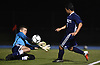 Brayan Matamoros Dubon #6 of Hewlett, right, scores a goal on a breakaway in the second half of a Nassau County Conference A-3 varsity boys soccer game against Jericho at Hewlett High School on Wednesday, Oct. 10, 2018. Hewlett won by a score of 4-2.