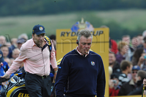 30.09.2010 Darren Clarke (NIR) vice captain of Europe  in action during practice at the Ryder Cup 2010 course, Celtic Manor resort, Newport, Wales on the third practice day of  the Ryder Cup 2010 between Europe v USA
