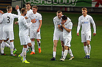 Pictured: Daniel James of Swansea (7) celebrates with Oli McBurnie and other team mates Tuesday 28 February 2017<br /> Re: Premier League International Cup, Swansea City U23 v Hertha Berlin II at at the Liberty Stadium, Swansea, UK