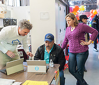New York City Council Speaker Melissa Mark-Viverito, right, at the Participatory Budget voting in La Marqueta in East Harlem in New York on Saturday, April 2, 2016. (© Richard B. Levine)