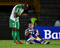 BOGOTA - COLOMBIA - 18 – 02 - 2018: Juan Guillermo Dominguez (Der.) jugador de Millonarios discute con Alexis Henriquez (Izq.), jugador de Atletico Nacional, durante partido de la fecha 4 entre Millonarios y por la Liga Aguila I 2018, jugado en el estadio Nemesio Camacho El Campin de la ciudad de Bogota. / Juan Guillermo Dominguez (R) player of Millonarios discuss with Alexis Henriquez ( L), player of Atletico Nacional, during a match of the 4th date between Millonarios and Atletico Nacional, for the Liga Aguila I 2018 played at the Nemesio Camacho El Campin Stadium in Bogota city, Photo: VizzorImage / Luis Ramirez / Staff.