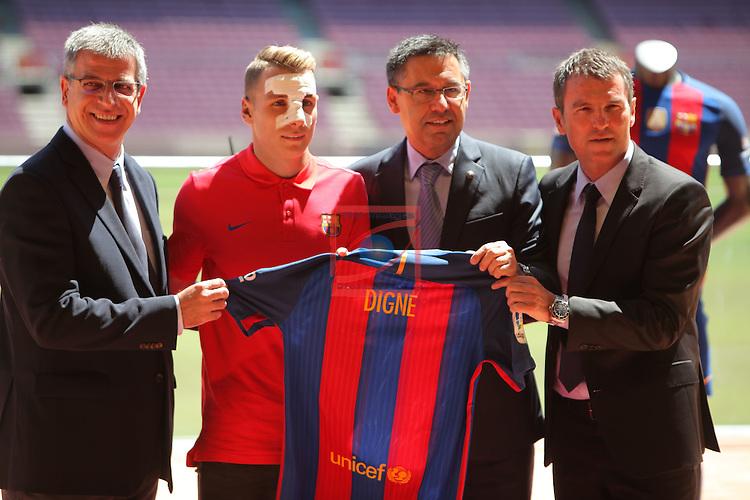 League BBVA 2016/2017.<br /> Lucas Digne presented as new player of FC Barcelona.<br /> Jordi Mestre, Lucas Digne, Josep M Bartomeu &amp; Robert Fernandez.