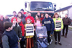 Residents from Rowan Heights, Drogheda who blocked a refuse collection truck in the estate..Picture: Paul Mohan/Newsfile