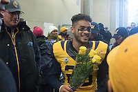 BERKELEY, CA - November 26, 2016: Bug Rivera (26) in the tunnel before walking on the field with his family on Senior Day.  Cal played UCLA at California Memorial Stadium.