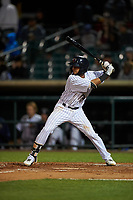 Lancaster JetHawks second baseman Carlos Herrera (36) at bat during a California League game against the Visalia Rawhide at The Hangar on May 17, 2018 in Lancaster, California. Lancaster defeated Visalia 11-9. (Zachary Lucy/Four Seam Images)