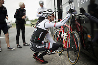 Bauke Mollema (NLD/Trek-Segafrdo) checking his saddle hight before the first training ride ahead of the 103rd Tour de France 2016