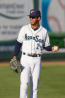 Luis Liberato (2) of the Everett Aquasox prior to a game against the Vancouver Canadian at Everett Memorial Stadium in Everett, Washington on July 27, 2015.  Everett defeated Vancouver 6-0. (Ronnie Allen/Four Seam Images)
