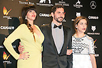 Yolanda Ramos, Paco Leon and Maria Leon attends the Feroz Cinema Awards 2015 at Las Ventas, Madrid,  Spain. January 25, 2015.(ALTERPHOTOS/)Carlos Dafonte)