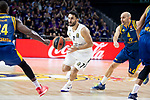 Real Madrid Facundo Campazzo and Herbalife Gran Canaria Albert Oliver during Turkish Airlines Euroleague match between Real Madrid and Herbalife Gran Canaria at WiZink Center in Madrid, 20 November 2018. (ALTERPHOTOS/Borja B.Hojas)