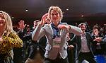 BUSSUM - Hakaman ,  de Haka-act van Paul Janmaat .  Janke van der Werf (NGF)   Nationaal Golf Congres & Beurs. COPYRIGHT KOEN SUYK