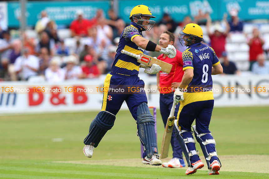 Colin Ingram of Glamorgan celebrates scoring a century, 100 runs during Essex Eagles vs Glamorgan, Royal London One-Day Cup Cricket at the Essex County Ground on 26th July 2016