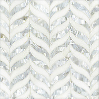 Madelyn, a stone water jet mosaic, shown in honed Thassos and Shell, is part of the Ann Sacks Beau Monde collection sold exclusively at www.annsacks.com