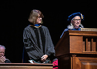 Wendy Sternberg, Vice President for Academic Affairs and Dean of the College presents Amy Lyford with The Janosik-Sterling Award for Service.<br /> The class of 2023 are welcomed to Occidental College by trustees, faculty and staff in Thorne Hall on Aug. 27, 2019 during Oxy's 132th Convocation ceremony, a tradition that formally marks the start of the academic year and welcomes the new class.<br /> (Photo by Marc Campos, Occidental College Photographer)