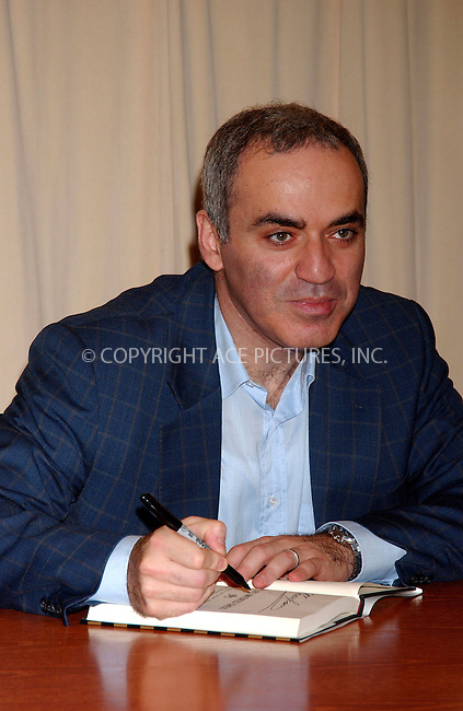 WWW.ACEPIXS.COM . . . . .....October 18, 2007. New York City.....Former world chess champion and leader of 'The Other Russia' party Garry Kasparov signs his new book 'How Life Imitates Chess: Making the Right Moves, from the Board to the Boardroom' at Barnes & Noble in New York City...  ....Please byline: Kristin Callahan - ACEPIXS.COM..... *** ***..Ace Pictures, Inc:  ..Philip Vaughan (646) 769 0430..e-mail: info@acepixs.com..web: http://www.acepixs.com