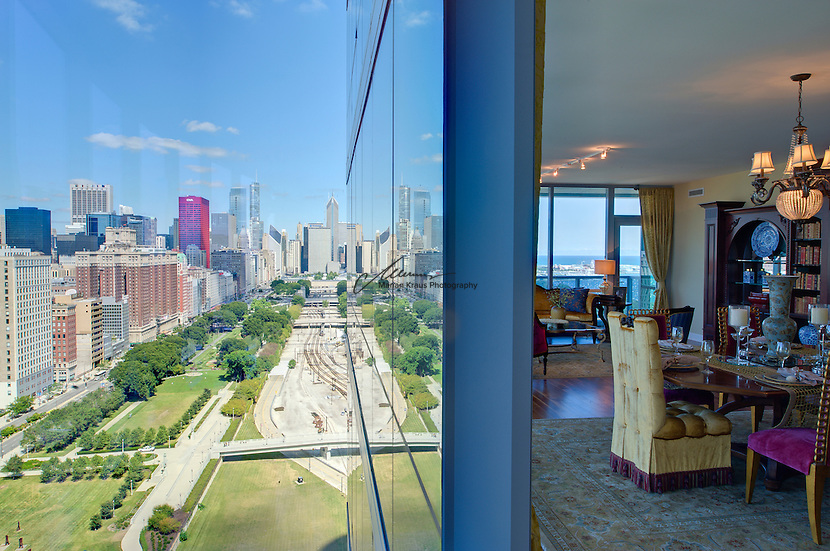 Luxury style living  at One Museum Place in Chicago which blends energetic architectural forms with postmodern materials to create a design which elevates Chicago's world-class architectural reputation. Floor-to-ceiling windows, lively diagonal expressions and exposed steel elements are the hallmarks of Museum Park Place and combine to create a building whose composition is unlike any other on Chicago's lakefront.