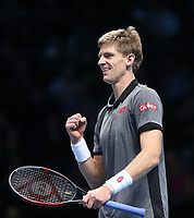 Kevin Anderson of South Africa celebrates after winning his match against Dominic Thiem of Austria <br /> <br /> Photographer Rob Newell/CameraSport<br /> <br /> International Tennis - Nitto ATP World Tour Finals Day 1 - O2 Arena - London - Sunday 11th November 2018<br /> <br /> World Copyright &copy; 2018 CameraSport. All rights reserved. 43 Linden Ave. Countesthorpe. Leicester. England. LE8 5PG - Tel: +44 (0) 116 277 4147 - admin@camerasport.com - www.camerasport.com