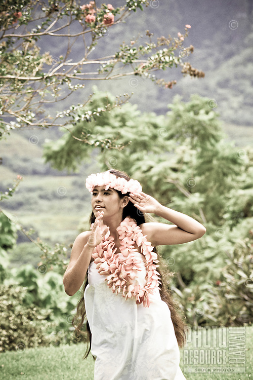 Young woman dancing hula near the Koolau mountains wearing pink plumeria leis