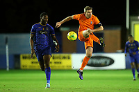 Michael Toner of Brentwood and Tim Babalola of Romford during Romford vs Brentwood Town, Velocity Trophy Football at the Brentwood Centre on 8th October 2019