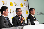 SoftBank Mobile Corp. president Ken Miyauchi speaks during a press conference to announce the new SoftBank Electricity service plan at the company's headquarters on January 12, 2016, Tokyo, Japan. In partnership with Tokyo Electric Power Company (TEPCO), Japan's third largest internet and telecommunications corporation will join the electricity retail market offering discounted rates from April 1st. <br /> <br /> Pictured from L to R: SoftBank Mobile Corp. vice president Hajime Baba, president Ken Miyauchi and Hideo Sanada a division head of business strategy at Tepco Customer Service Corp. (Photo by Rodrigo Reyes Marin/AFLO)