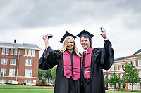 Graduates on the Drill Field: fiances Amber Bennett (Psychology) and Jack Bryan (Economics).<br />  (photo by Megan Bean / &copy; Mississippi State University)