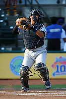 Staten Island Yankees catcher Francisco Arcia (60) during game against the Brooklyn Cyclones at MCU Park in Brooklyn, NY June 19, 2010. Cyclones won 9-6.  Photo By Tomasso DeRosa/Four Seam Images