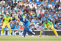 Virat Kolli (India) pushes into the on side for an easy single during India vs Australia, ICC World Cup Cricket at The Oval on 9th June 2019