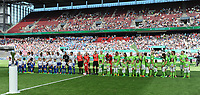 20170527 - KOELN , GERMANY : both teams  pictured during the final of German Women's Cup 2017 - Pokal Final Frauen , a soccer women game between SC Sand and holders VfL Wolfsburg  , at the Rhein Energie Stadion , saturday 27 th Mayl 2017 . PHOTO SPORTPIX.BE | DIRK VUYLSTEKE