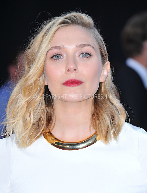 WWW.ACEPIXS.COM<br /> <br /> April 13 2015, LA<br /> <br /> Actress Elizabeth Olsen arrives at the Premiere Of Marvel's 'Avengers: Age Of Ultron' at the Dolby Theatre on April 13, 2015 in Hollywood, California.<br /> <br /> <br /> By Line: Peter West/ACE Pictures<br /> <br /> <br /> ACE Pictures, Inc.<br /> tel: 646 769 0430<br /> Email: info@acepixs.com<br /> www.acepixs.com