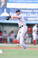 Greenville Drive third baseman Triston Casas (38) throws to first base during a game against the Asheville Tourists at McCormick Field on July 10, 2019 in Asheville, North Carolina. The Tourists defeated the Drive 1-0. (Tony Farlow/Four Seam Images)