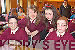 Pupils from St. Josephs National School, Cahersiveen at the Credit Union Quiz on Sunday, from left: Dervla Donnegan, Ciara Quigley, Lee Coffey, Grainne Donnegan.