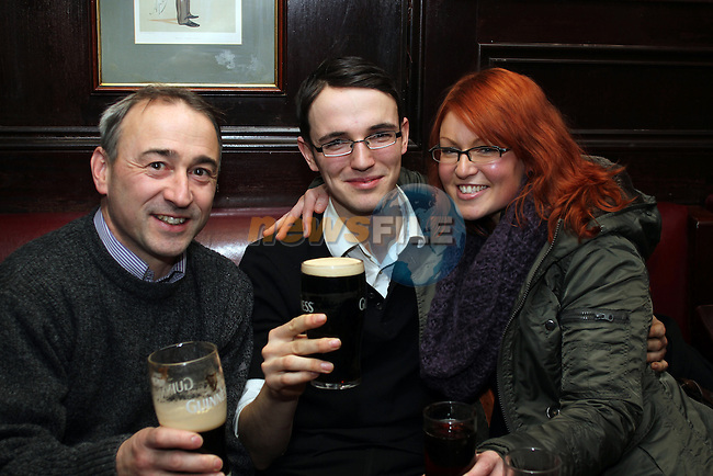 Niall Kierans, Stephen O'Hagan and Joanne Taylor on Christmas Eve in the Laurence Inn. ..(Photo credit should read Jenny Matthews www.newsfile.ie)....This Picture has been sent you under the conditions enclosed by:.Newsfile Ltd..The Studio,.Millmount Abbey,.Drogheda,.Co Meath..Ireland..Tel: +353(0)41-9871240.Fax: +353(0)41-9871260.GSM: +353(0)86-2500958.email: pictures@newsfile.ie.www.newsfile.ie.