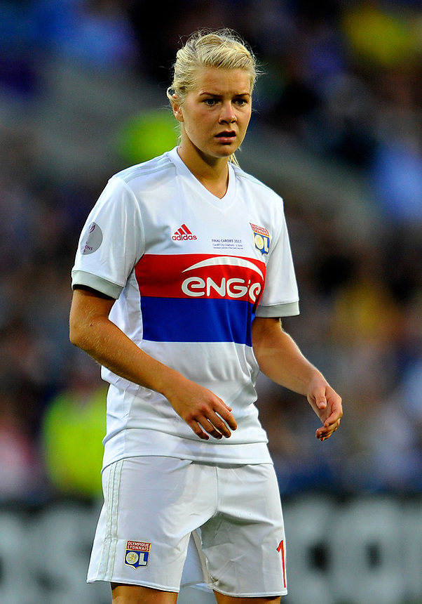 Olympique Lyonnais' Ada Hegerberg in action <br /> <br /> Photographer Ashley Crowden/CameraSport<br /> <br /> UEFA Women's Champions League Final - Lyon Women v Paris Saint-Germain Women - Thursday 1st June 2017 - Cardiff City Stadium<br />  <br /> World Copyright &copy; 2017 CameraSport. All rights reserved. 43 Linden Ave. Countesthorpe. Leicester. England. LE8 5PG - Tel: +44 (0) 116 277 4147 - admin@camerasport.com - www.camerasport.com