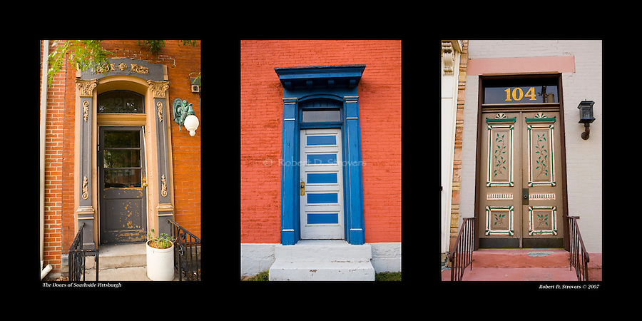 Pittsburgh Doors -  On and Around Sarah Street, Southside Pittsburgh, set 3. 10 x 20 arrangement with 3 5x7 images.